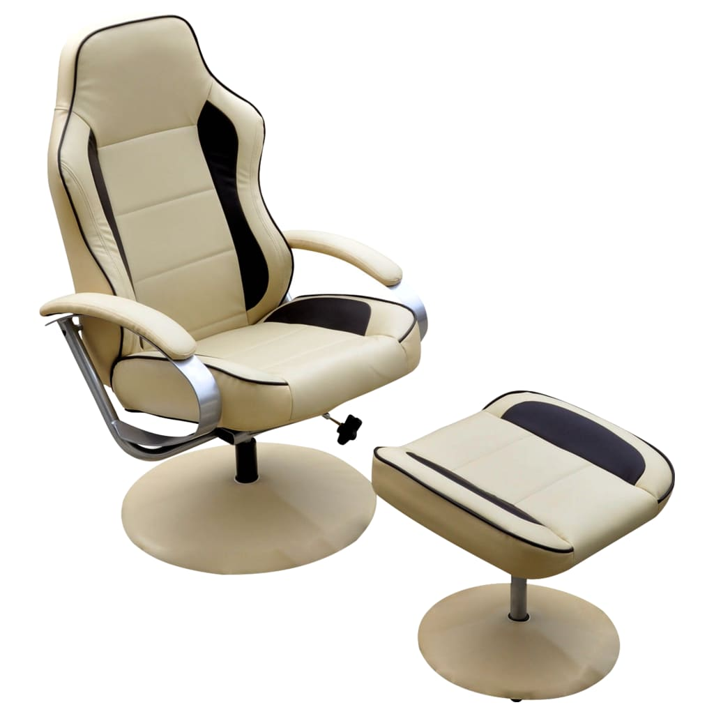 vidaXL Armchair Footrest Adjustable Artificial Leather Cream White