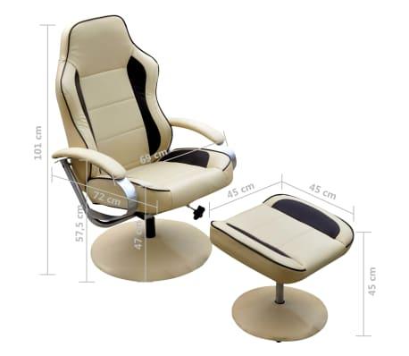 acheter vidaxl fauteuil avec repose pied r glable cuir synth tique blanc cr me pas cher. Black Bedroom Furniture Sets. Home Design Ideas