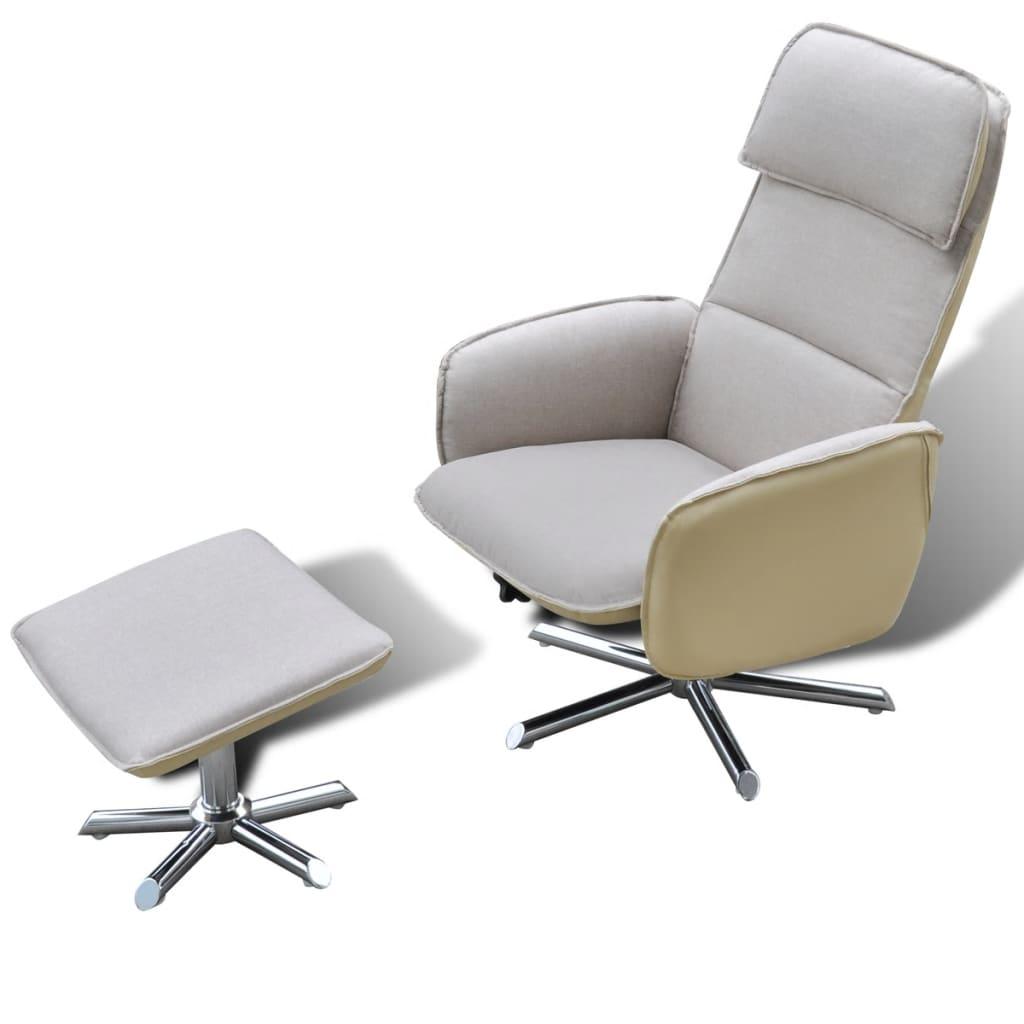 Afbeelding van vidaXL Comfortabele fauteuil + voetenbankje (crème)