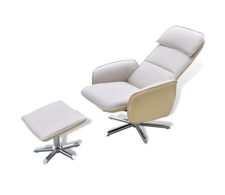 acheter fauteuil avec repose pied blanc cr me pas cher. Black Bedroom Furniture Sets. Home Design Ideas