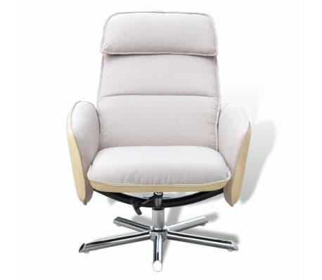 Home Tv Armchair Adjustable Recliner With Foot Stool Cream