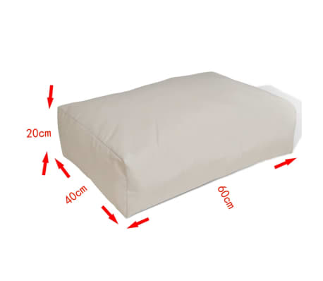 Upholstered Back Cushion 60 x 40 x 20 cm Sand White[3/4]