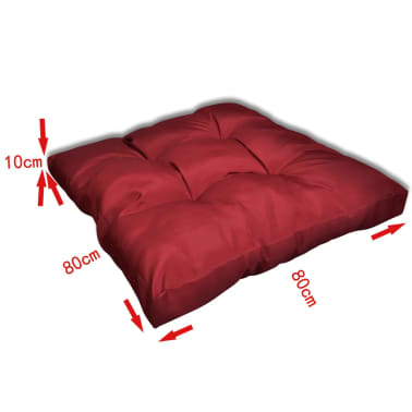 Upholstered Seat Cushion 80 x 80 x 10 cm Wine Red[3/4]