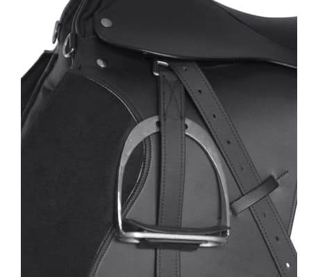"vidaXL Horse Riding Saddle Set 16"" Real Leather Black 5.5"" 5-in-1[4/10]"
