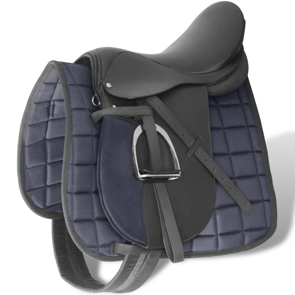 """Echt lederen paardrijzadel 17,5"""" 12 cm (5-in-1 set, zwart)"""