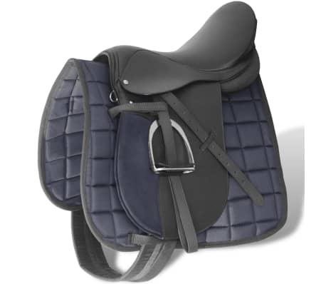 "vidaXL Horse Riding Saddle Set 17.5"" Real leather Black 4.7"" 5-in-1"