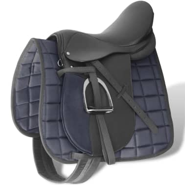 "vidaXL Horse Riding Saddle Set 17.5"" Real leather Black 4.7"" 5-in-1[1/10]"