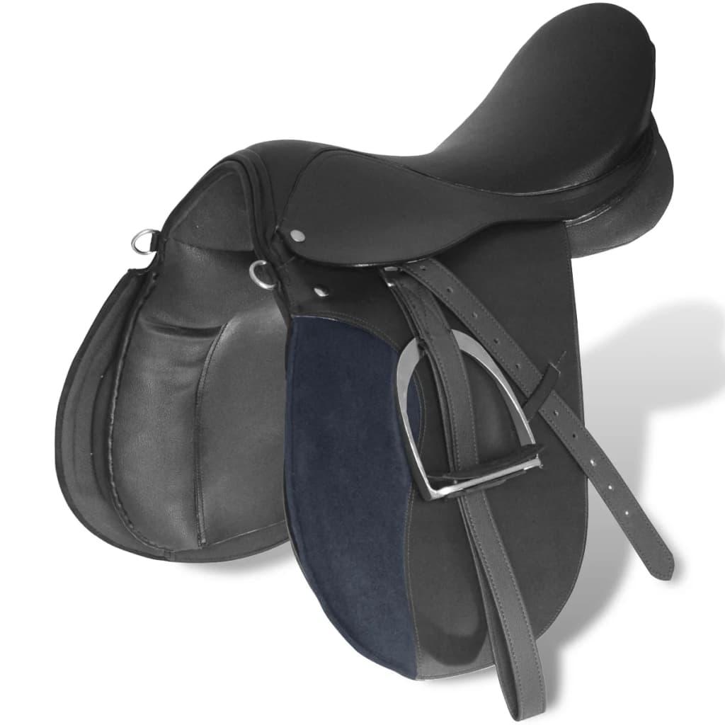 """vidaXL Echt lederen paardrijzadel 17,5"""" 18 cm (5-in-1 set, zwart)"""