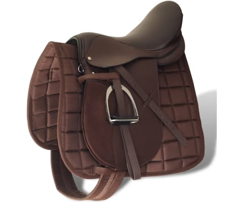 """vidaXL Horse Riding Saddle Set 16"""" Real Leather Brown 5.5"""" 5-in-1"""