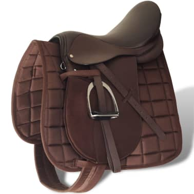 "vidaXL Horse Riding Saddle Set 17.5"" Real leather Brown 4.7"" 5-in-1[1/10]"