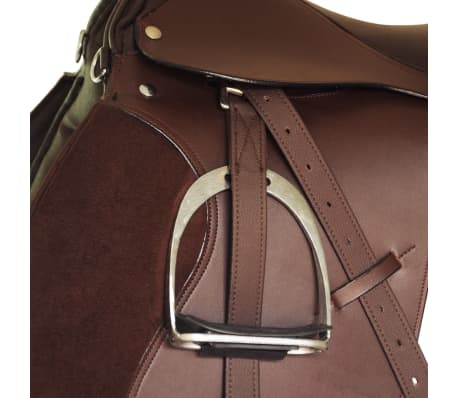 "vidaXL Horse Riding Saddle Set 17.5"" Real leather Brown 4.7"" 5-in-1[5/10]"