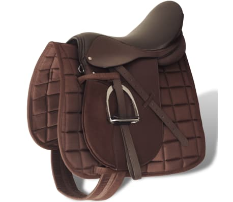 "vidaXL Horse Riding Saddle Set 17.5"" Real Leather Brown 7.1"" 5-in-1[1/10]"