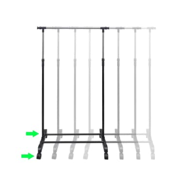 vidaXL Kledingrekken verstelbaar 2 st met 1 ophangrail[7/8]