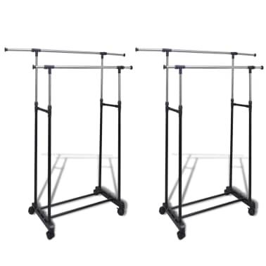 vidaXL Perchero ajustable para ropa 2 barras 2 unidades[1/7]