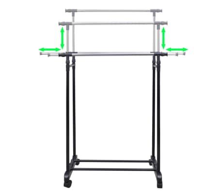 vidaXL Perchero ajustable para ropa 2 barras 2 unidades[3/7]