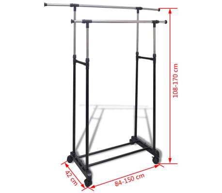 vidaXL Perchero ajustable para ropa 2 barras 2 unidades[7/7]