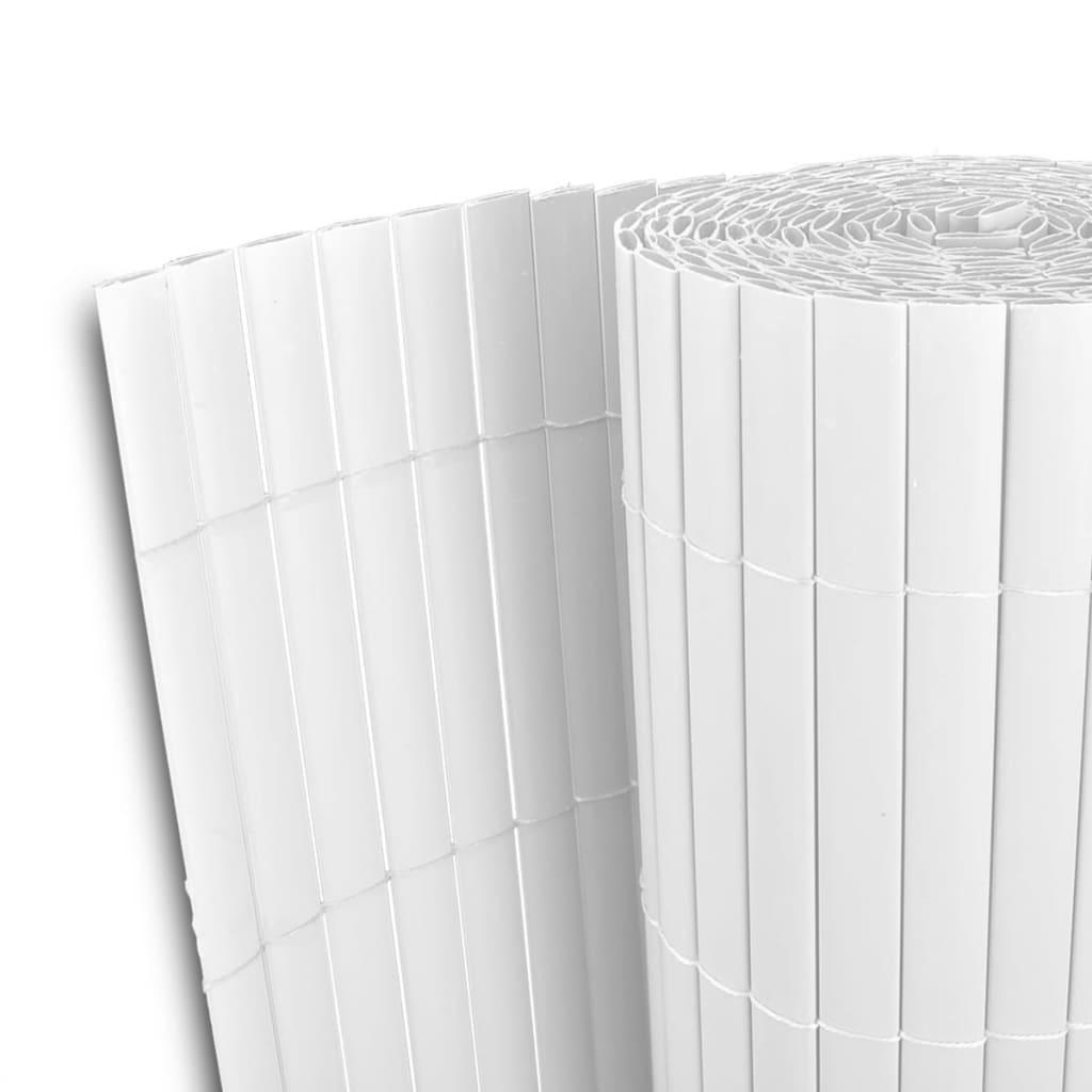 Zahradní plot bílý 150 x 500 cm z PVC, oboustranný, lišty 12 mm
