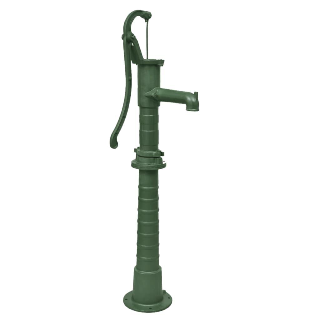 Litinová zahradní ruční pumpa / čerpadlo se stojanem - zelená