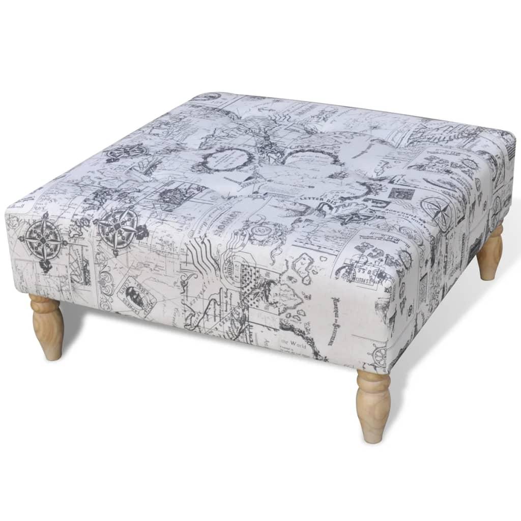 Vzorovaný čtvercový taburet / podnožka, 80 x 80 x 38,5 cm