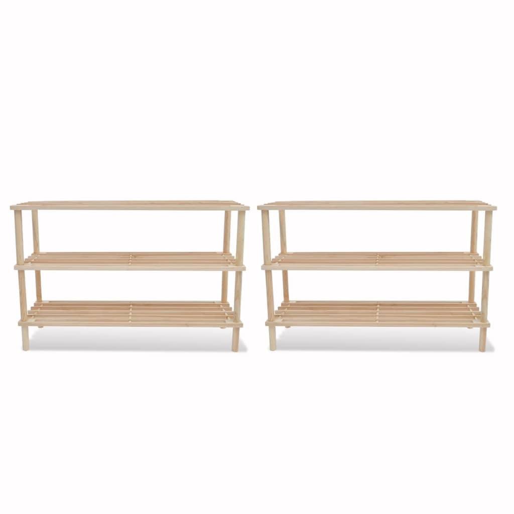Dřevěné botníky se 3 policemi, 2 ks