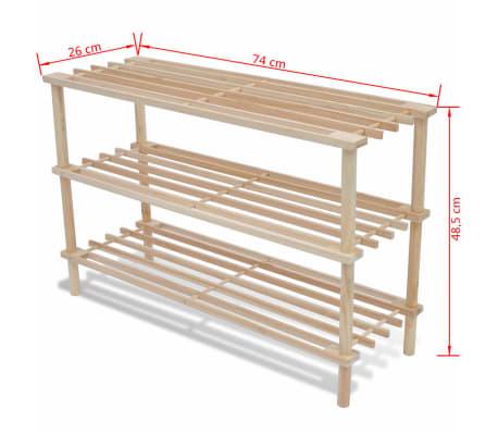 Struttura di legno con 3 mensole per le scarpe 2 pezzi[5/5]