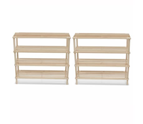 vidaXL Wooden Shoe Racks 2 pcs 4-Tier Shoe Shelf Storage[1/5]