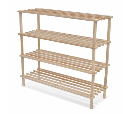 vidaXL Wooden Shoe Racks 2 pcs 4-Tier Shoe Shelf Storage[2/5]