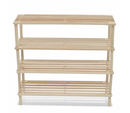 vidaXL Wooden Shoe Racks 2 pcs 4-Tier Shoe Shelf Storage[3/5]