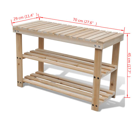 2-in-1 Wooden Shoe Rack With Bench Top Durable[3/3]