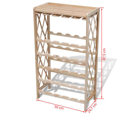 vidaXL Wine Rack for 25 Bottles Wood[4/4]