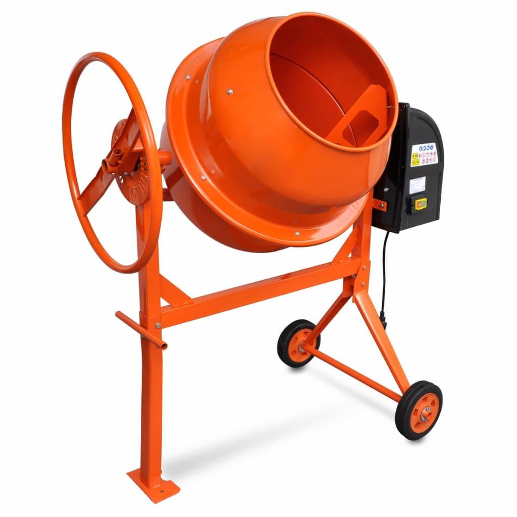 Oranžová míchačka betonu z oceli 140L 650W