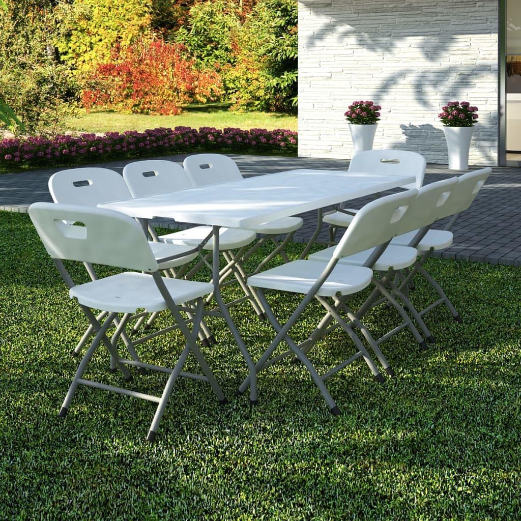 9dílný skládací zahradní jídelní set HDPE bílý