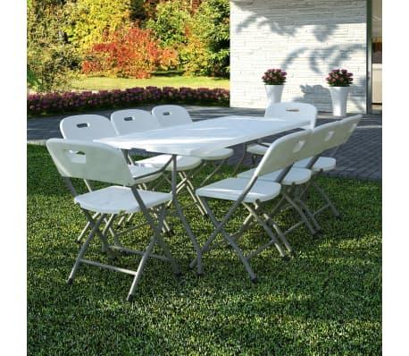 acheter vidaxl mobilier de jardin 9 pcs hdpe pliable blanc pas cher. Black Bedroom Furniture Sets. Home Design Ideas