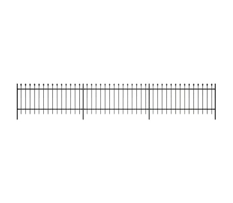 Ornamental Security Palisade Fence Steel Black Pointed Top 2'[2/5]