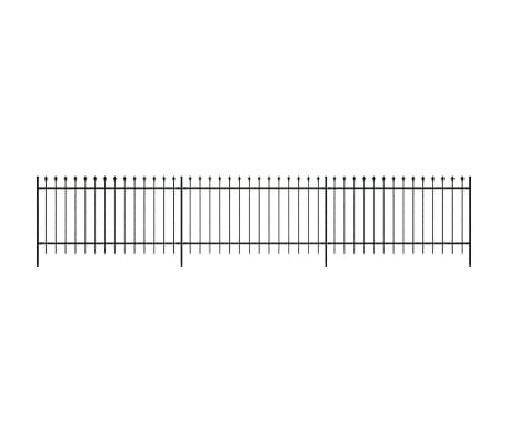 "vidaXL Security Palisade Fence with Pointed Top Steel 19' 8""x3' 3"" Black[1/5]"