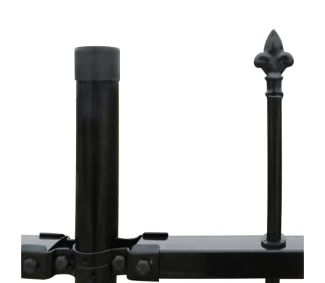 "vidaXL Security Palisade Fence with Pointed Top Steel 19' 8""x3' 3"" Black[3/5]"