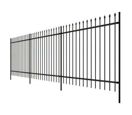 "Ornamental Security Palisade Fence Steel Black Pointed Top 4' 11""[2/5]"