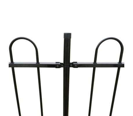 vidaXL Ornamental Security Palisade Fence Steel Black Hoop Top 80 cm[3/5]