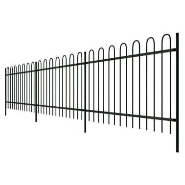 vidaXL Ornamental Security Palisade Fence Steel Black Hoop Top 80 cm[2/5]