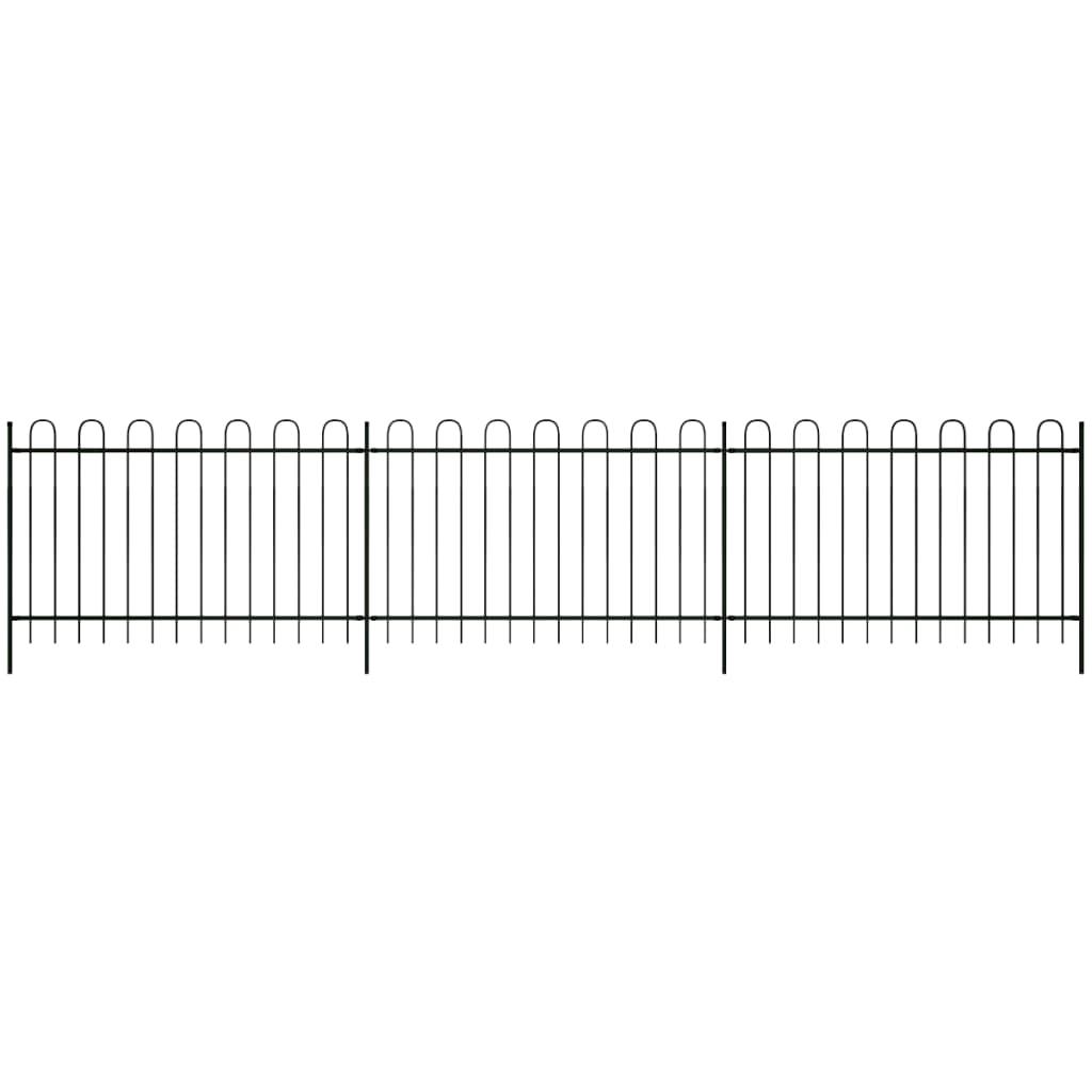 vidaXL Gard de protecție cu vârf rotunjit, negru, 600 x 150 cm, oțel poza 2021 vidaXL