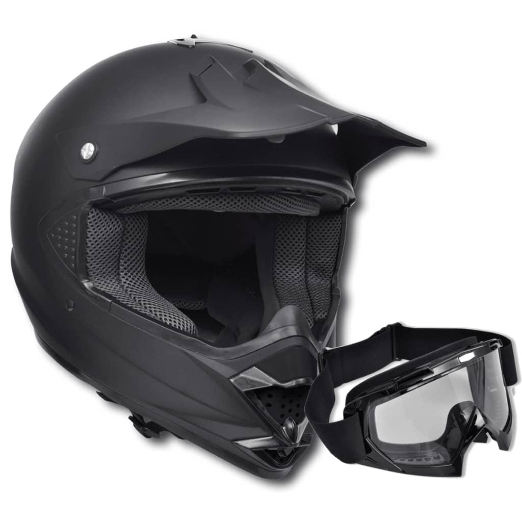 Cască moto fără vizor, cu ochelari de protecție, mărime S, negru poza vidaxl.ro