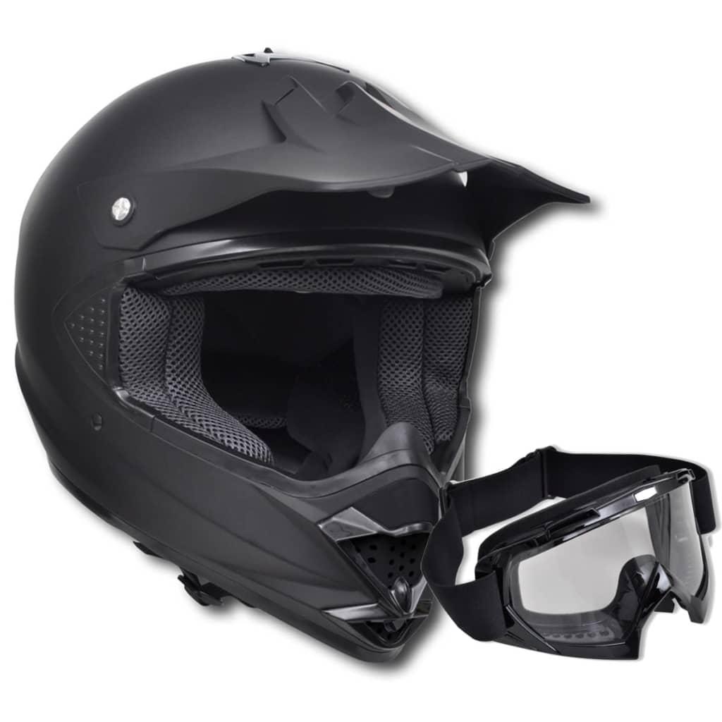 Motokrosová helma černá, vel. M, bez hledí, s brýlemi