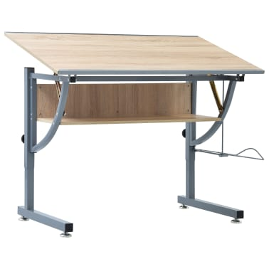 vidaXL Braižymo stalas paaugliams, ąžuolo spalvos, 110x60x87cm, MDF[1/9]