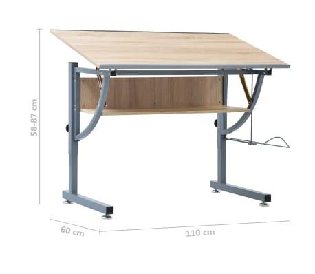 vidaXL Braižymo stalas paaugliams, ąžuolo spalvos, 110x60x87cm, MDF[9/9]