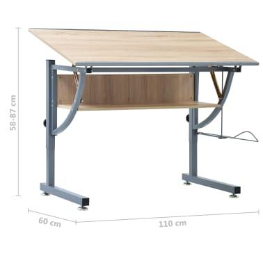 vidaXL Table à dessin pour adolescents Chêne 110x60x87 cm MDF[9/9]