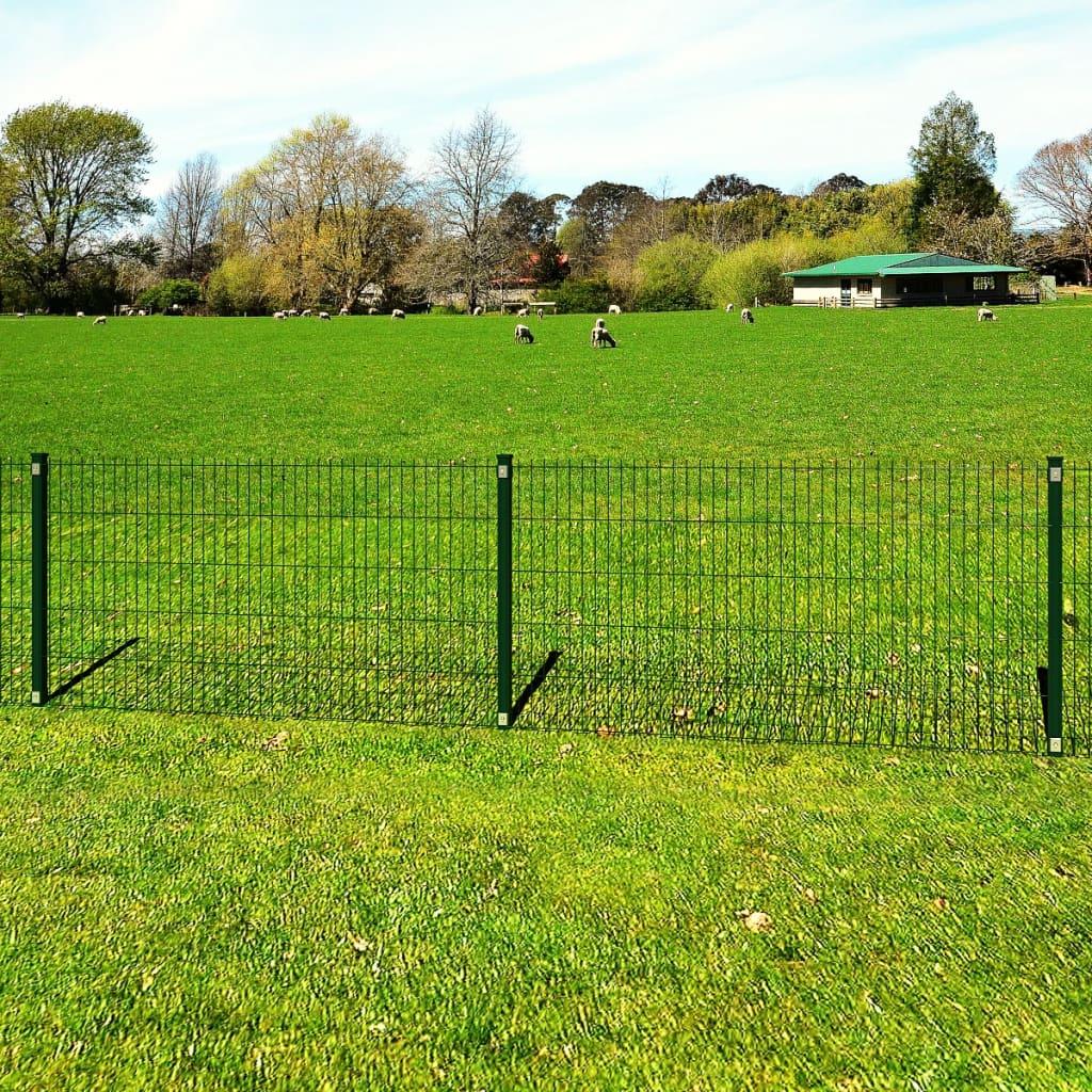 vidaXL Panou gard grădină 2D și stâlp, verde, 103 cm, 10 m imagine vidaxl.ro
