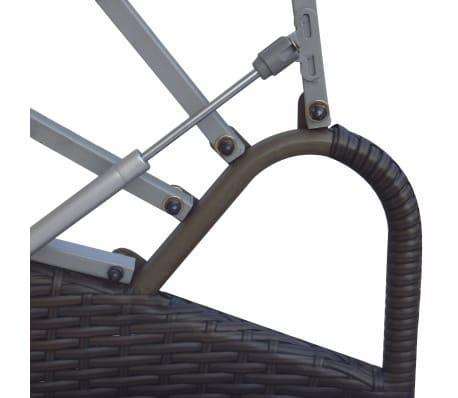 vidaXL Vrtna ležaljka s baldahinom poliratan smeđa[5/6]