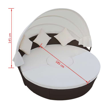 vidaXL Vrtna ležaljka s baldahinom poliratan smeđa[6/6]
