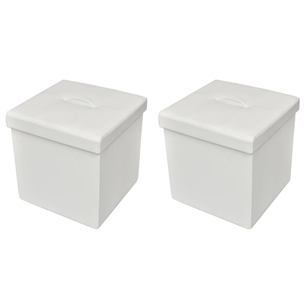 2 x Skládací podnožka / taburet s úložným prostorem bílá
