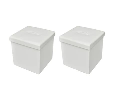 Foldable Storage Stool Ottoman Footstool White 2 pcs
